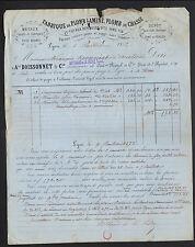 """LYON (69) USINE à PLOMBS / VIEILLE MONTAGNE """"ARTHAUD & LA SELVE"""" Voyagée en 1872"""