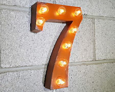 """12"""" NUMBER 7 SEVEN Rustic Metal Vintage Inspired Marquee Sign Light 14 COLORS"""