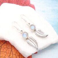 Mondstein blau weiß rund Feder Design Ohrringe Ohrhänger 925 Sterling Silber neu