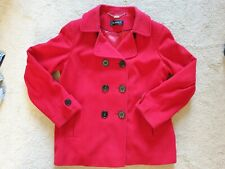 Great *Planet* ladies red wool winter coat, double breasted smart *UK 16*