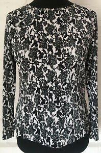 M&S Long Sleeve Floral Top Size 14 Black/white