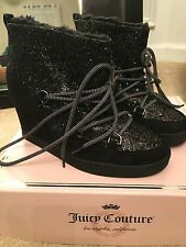 Juicy Couture NEW glitter black womans ladies boots shoes 8.5 msrp $89.99 b83