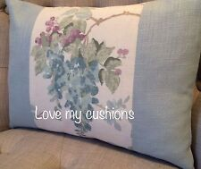"""12x16"""" Panelled cushion cover Laura Ashley Wisteria Duck Egg/Bacall"""