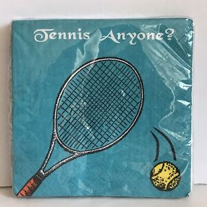 """NEW Tennis Cocktail Party Napkins """" Tennis Anyone?"""" 16 Count Blue Yellow RETRO"""