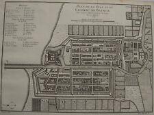 PLAN DE LA VILLE ET DU CHATEAU DE BATAVIA , INDONESIE , JAKARTA , 1750