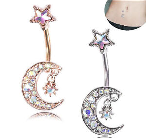 Moon And Star Design Belly Bar Piercing Crystal Navel Ring 316L Surgical Steel