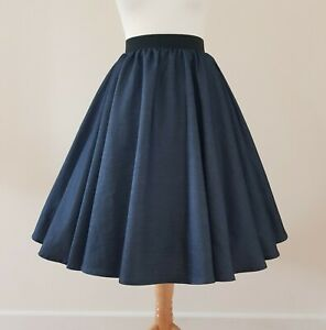 1950s Circle Skirt Navy Blue Chambray Size 18 - Rockabilly Indigo Denim Plain