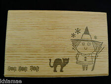 Cute Halloween Witch Box print wooden chest jewellery gemstones wicca ooak 14cm