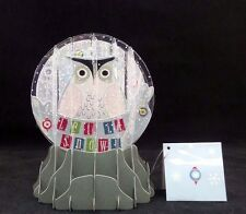 Let it Snow Owl Pop Up Snow Globe Greeting Card Holiday Christmas Card New