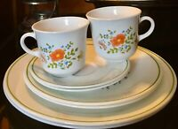 8 Piece Set for 2 Vintage Corelle Corning Ware Wildflower Cups, Saucers, Plates