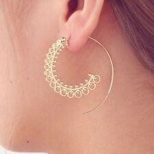 Boho Ethnic Tribal Swirl Spiral Hoop Earrings Gold Plated 1 Pair UK SELLER