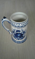 Russian beer mug - blue and white - very rare - ceramic - bierkroes - gzhel