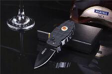 Multi Windproof Refillable Butane Gas Jet Flame Cigarette Lighter Folding Knife
