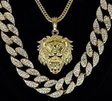 """Mens 3pc Set Lion Head Iced Out Cuban Link 14k Gold Plated 24"""" 30"""" Chains HipHop"""
