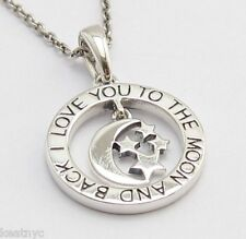 'I LOVE YOU TO THE MOON AND BACK' LOVE MESSAGE PENDANT Sterling Silver .925 n96