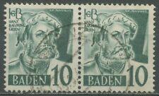 Französische Zone: Baden 1948/49 Baldung Typenpaar 33 y I + II gestempelt