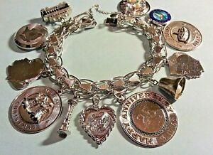 "Vintage  Fancy Link Tulip Sterling Silver Charm Bracelet & Charms, 49.8g, 7 1/2"""
