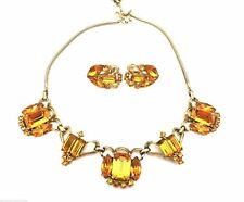 Corocraft Vintage Huge Amber Rhinestone Necklace & Earring Set 1940s