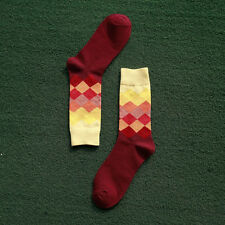 Fashion Mens Cotton Socks Warm Colorful Diamond Casual Dress Socks 9-11
