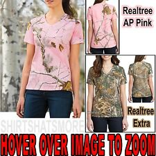 Russell Ladies Camo V-Neck T-Shirt Cotton Womens Tee XS, S, M, L, XL, 2X,3X NEW