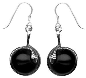 Sterling Silver Snake Coiled Around a Simulated Onyx Ball Wire Earrings-SE199