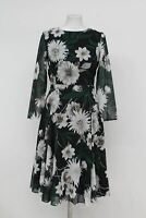 HOBBS Ladies Multicoloured Floral Print 3/4 Sleeve Aurelie Flare Dress UK16 NEW