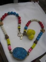 """Funky RARE """"red Lust"""" Necklace w/ Large BLUE DRUZY Pendant, Yellow Pom Poms ++++"""