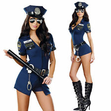 Sexy Cop Police Women Costume Cosplay Officer Outfit Halloween Fancy Dress + Hat
