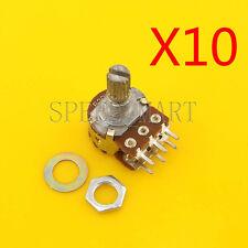 10 pcs B20K Ohm Dual Linear Rotary Potentiometer Pot 15mm Shaft 6 Pins