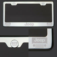 T304  Chrome Polished Jeep  Laser Etched Engraved License Plate Frame Screw Cap