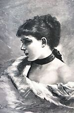 Jean Gustave Jacquet 1888 A STUDY HEAD Girl w Black Velvet Necklace Art Print
