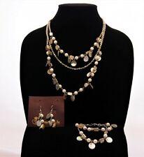 """Premier Designs """"Coastal"""" Necklace, Bracelet, Earrings Set shell, faux pearls"""