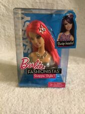 Barbie Fashionistas Sassy Swappin' Styles Doll's Head Hot Pink Hair Rare NIB