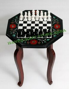 Black Marble Chess Table Inlay with Semiprecious stone with Chess figure & stand