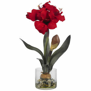 Nearly Natural Red Amaryllis W/Round Vase River Rock Artificial Water Home Decor