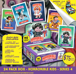 HORRORIBLE KIDS - Series 4 Sticker Cards Horror Parody Garbage Pail Kids Artist