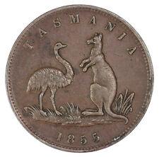 Australia 1855 Lewis Abrahams Hobart Halfpenny Token gEF