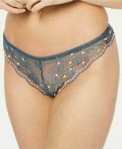 Calvin Klein Women Pom Pom Lace Thong Small Dark Matter QF5190 Free Ship NWT