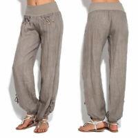 Women Casual Linen Harem Pants Wide Leg Loose Baggy Yoga Long Trousers Plus Size