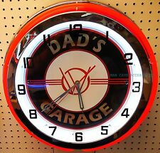 """18"""" Dads WILLYS Garage Sign Double Neon Clock"""