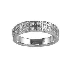 Gemsake 0.22 ctw G-H Natural Certified Diamond Half Eternity band SI clarity