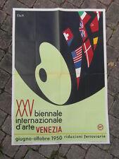 POSTER AFFICHE ORIGINALE XXVe BIENNALE INTERNAZIONALE D ARTE VENEZIA 1950 VENISE
