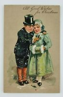 Postcard Christmas Wishes Boy in Top Hat Holding Girl