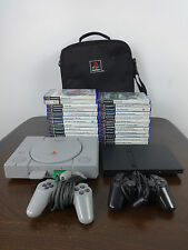 Playstation bumper lot PS1 console PS2 Console x2 controllers 25 PS2 games + Bag