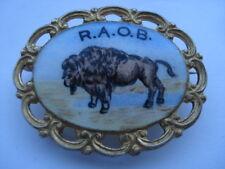 R.A.O.B.(ORDER OF BUFFALOES)SILVER&HAND PAINTED ENAMEL PIN BROOCH