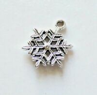10x Snowflake Charms for Bracelet Necklace Pendant Earring Making Supplies
