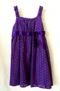 Bonnie Jean Empire Waist Dress 89653 Slvless Purple Eyelet Size 12.5 #11023