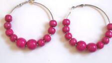 Big Hoop Earrings with Pink Beads