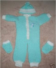 New Pale Green Crocheted Baby Coverall Outfit Set * Hand Made *