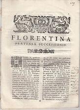 DIRITTO EREDITARIO FLORENTINA PRAETENSAE SUCCESSIONIS 1760